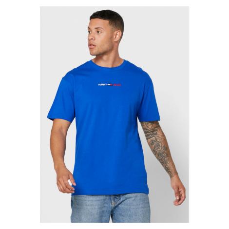 Tommy Hilfiger TOMMY JEANS pánské modré tričko LINEAR LOGO TEE
