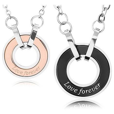 """Dva náhrdelníky z oceli 316L, obrys kruhu, nápis """"Love forever"""" Šperky eshop"""