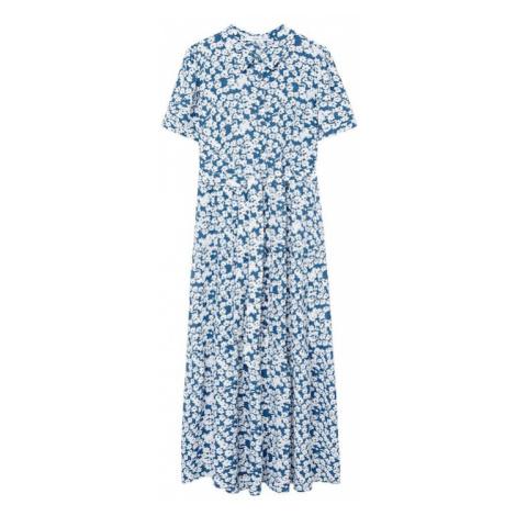 MANGO Košilové šaty 'Shirty' nebeská modř / bílá