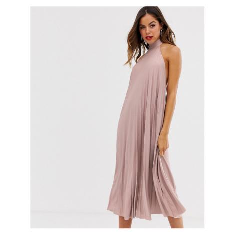 ASOS DESIGN backless halter pleated midi dress-Pink
