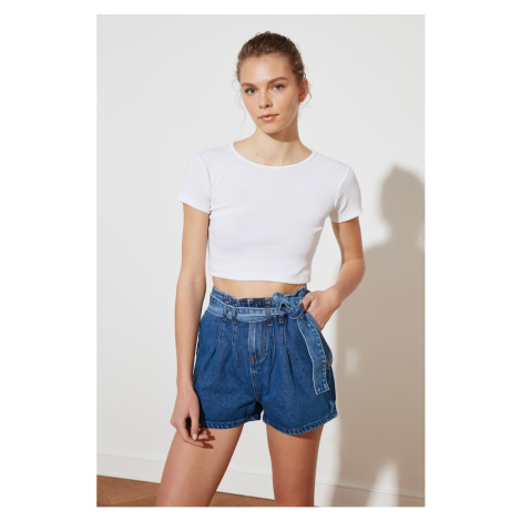 Trendyol Navy Blue Belt Denim Shorts