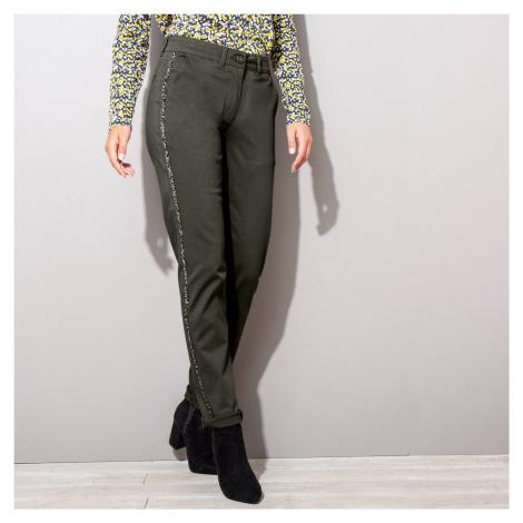 Blancheporte Chino kalhoty, třpytivé lampasy khaki