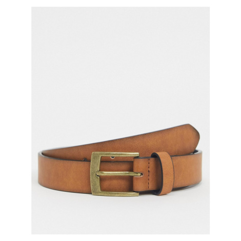 ASOS DESIGN slim belt in tan faux leather