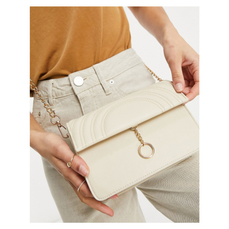 Truffle Collection across body bag with ring detail and chain strap in beige-Neutral