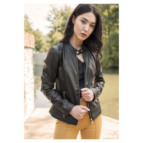 Elegantní kožená dámská bunda s podšívkou z ekokůže