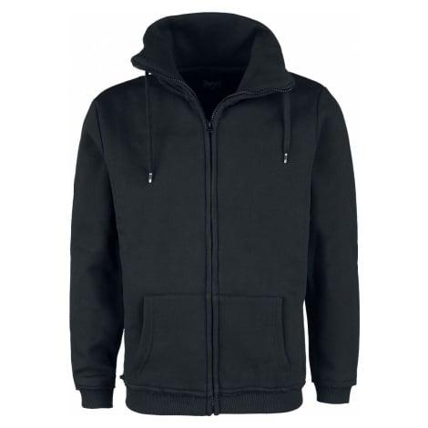 Black Premium by EMP Černá tepláková bunda s límcem se stojáčkem mikina s kapucí na zip černá