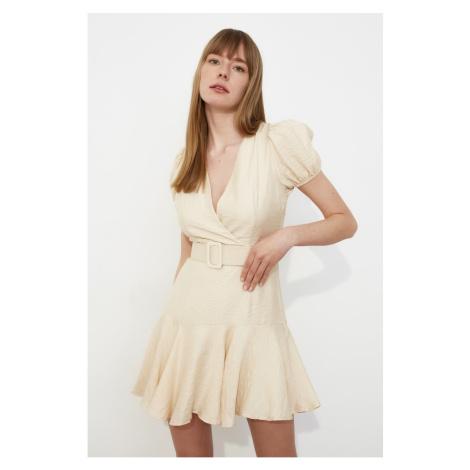 Trendyol Ekru Belt Flywheel Dress