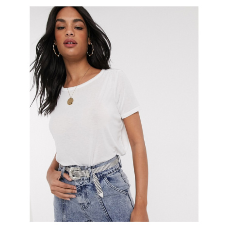 River Island t-shirt with ruched sleeves in white