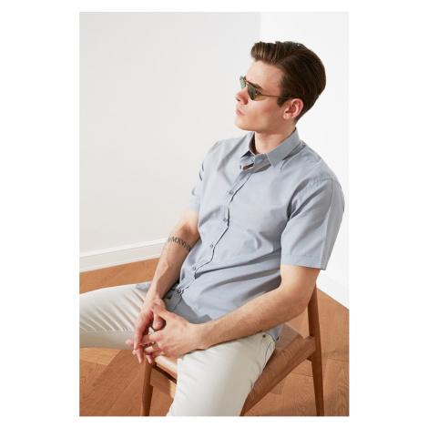 Trendyol Gray Men's Relax Fit Basic Shirt Collar Short Sleeve Flamed Shirt