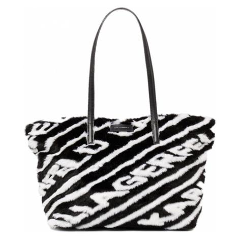 Černo-bílá kožešinová kabelka - KARL LAGERFELD