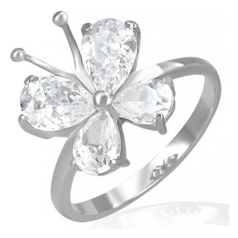 Ocelový snubní prsten - zirkonový motýlek s tykadly Šperky eshop