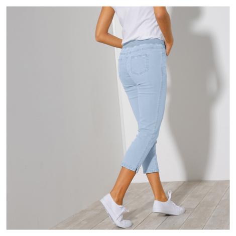 Blancheporte 3/4 džínové kalhoty s pružným pasem sepraná modrá