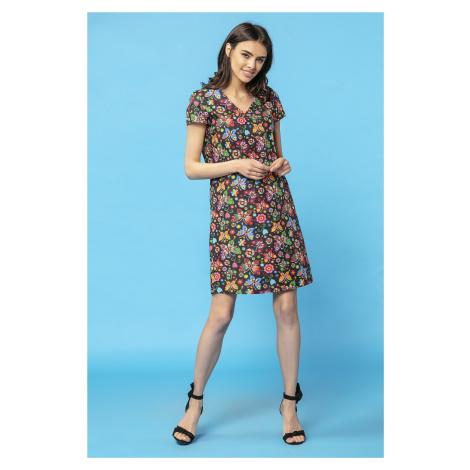 Vzorované dámské šaty květované s pruhy a krátkým rukávem