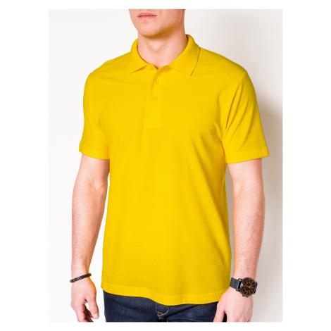 Pánské basic polo tričko Sheer žluté Ombre Clothing