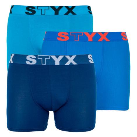 3PACK pánské boxerky Styx long sportovní guma modré (U9676869)