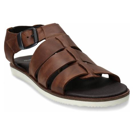 Hnědé pánské kožené sandály se zapínáním u kotníků Baťa