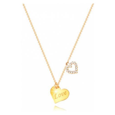 """Náhrdelník z 9K žlutého zlata - srdce s nápisem """"Love"""", obrys srdíčka se zirkony Šperky eshop"""