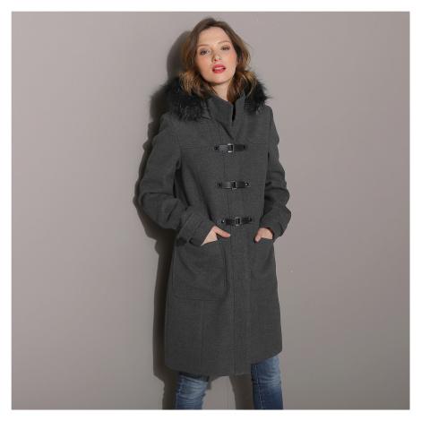Blancheporte Kabát duffle-coat s kapucí antracitový melír