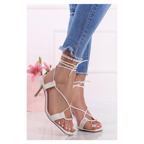 Bílé šněrovací sandály na tenkém podpatku Lust City Shoes