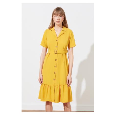 Trendyol Yellow Belt Shirt Dress