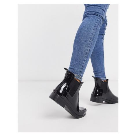 Hunter original refined black gloss chelsea wellington boots