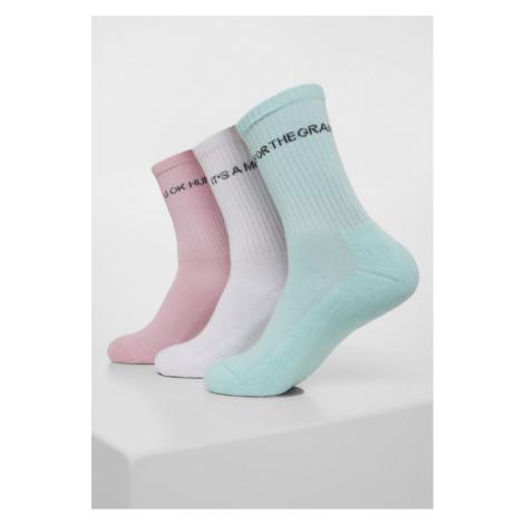 Urban Classics Wording Socks 3-Pack mint/rose/white