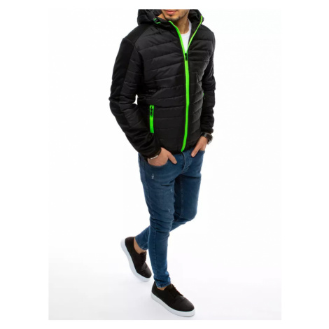 Men's quilted hooded jacket navy blue Dstreet TX3694
