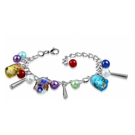 Řetízkový náramek a přívěsky - umělé perličky, barevné korálky s růžičkami Šperky eshop