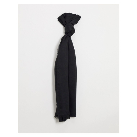 ASOS DESIGN lightweight scarf with raw edge in black