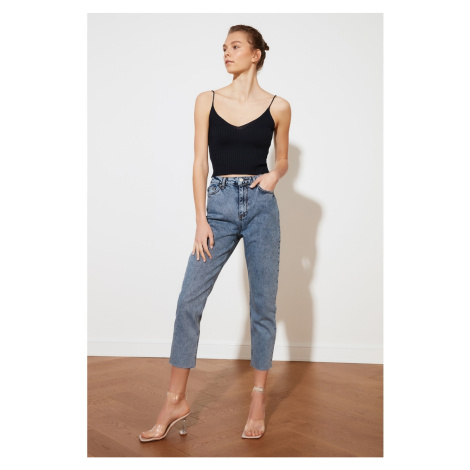 Trendyol High Waist Mom Jeans WITH Blue PatchEd Ripped Detail