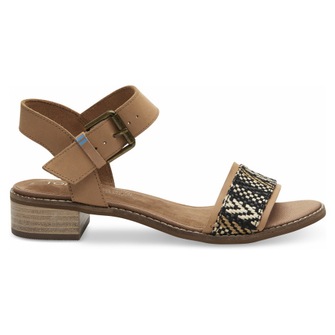 Honey Leather/Geometric Woven Women Camilia Sand Toms