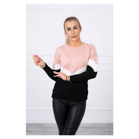 Sweater with geometric patterns powder pink+black