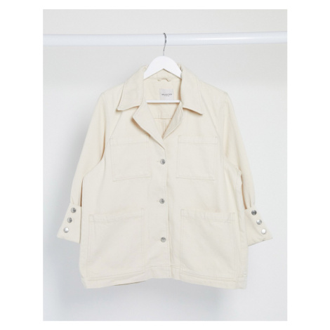 Selected Femme oversized denim jacket with pockets in white-Cream