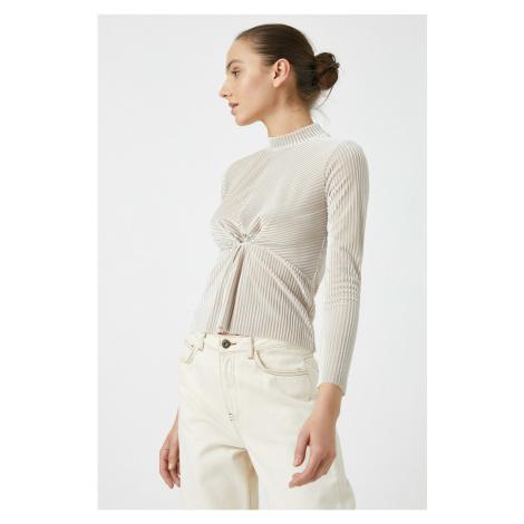 Koton Women Ecru Turtleneck Velvet Long Sleeve T-Shirt