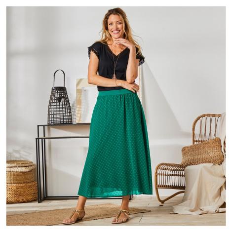 Blancheporte Dlouhá sukně s výšivkou zelená