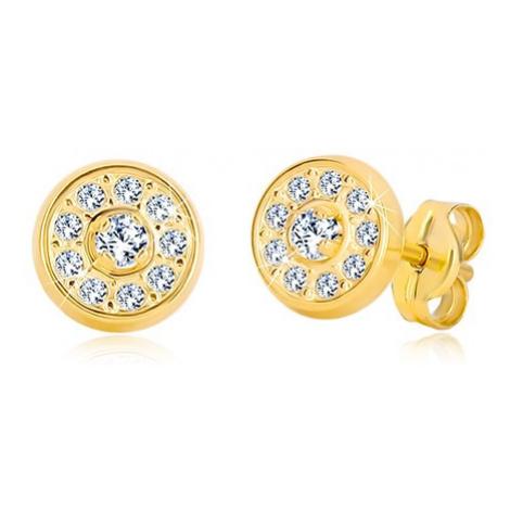 Puzetové náušnice ze žlutého zlata 585 - kroužek vykládaný zirkony Šperky eshop