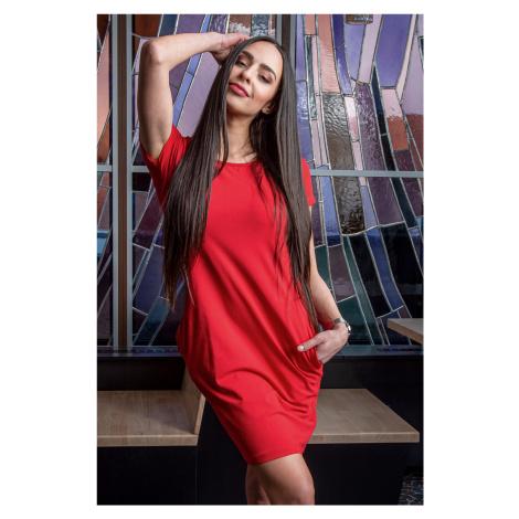 Červené šaty s krátkým rukávem Sintimo