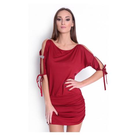 Krátké šaty s mašličkou a flitry na rukávech barva bordó Oxyd
