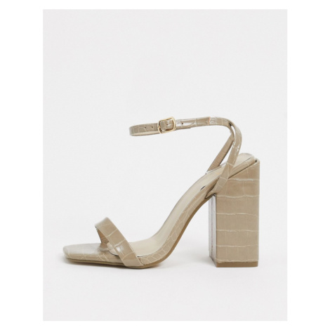 Missguided block heel sandal in sage croc-Green