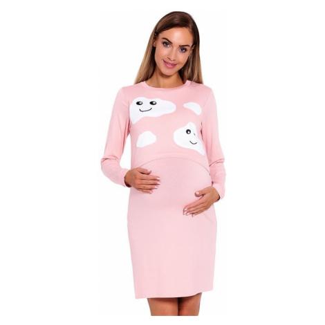 Mateřská noční košile Halle růžová s obláčky PeeKaBoo