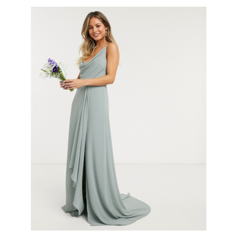 TFNC bridesmaid cowl neck cami strap maxi dress with train in sage-Green