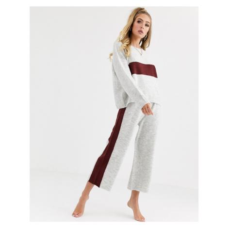 ASOS DESIGN lounge premium knitted stripe trouser-Grey