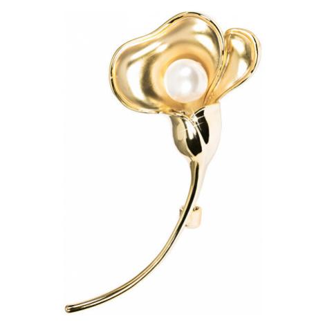 JwL Luxury Pearls Pozlacená brož květ s pravou perlou JL0511