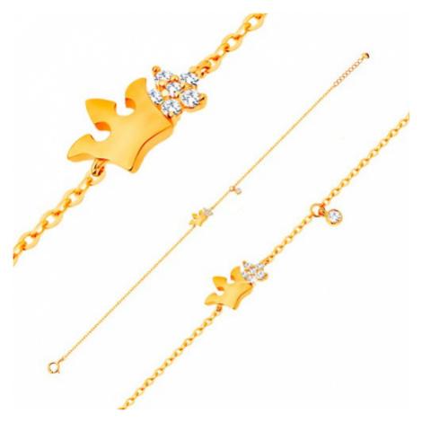 Náramek ze žlutého 14K zlata - lesklá korunka a čirý zirkonový květ, 180 mm Šperky eshop