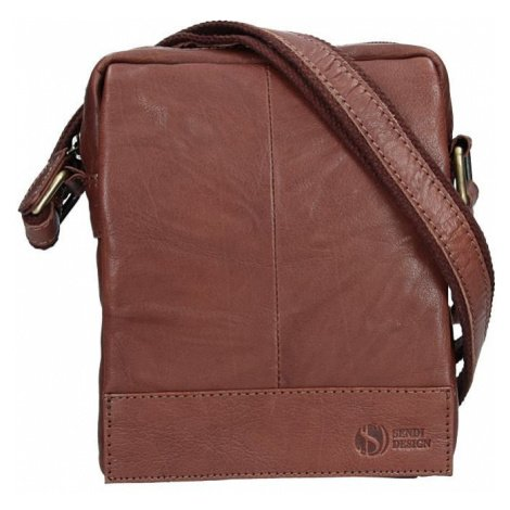 Pánská kožená taška přes rameno SendiDesign Eduardo - tmavě hnědá Sendi Design