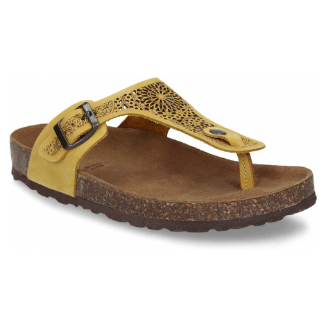 Žluté dámské kožené pantofle s perforací Baťa
