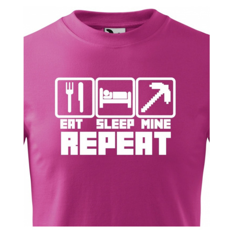 Dětské tričko Eat Sleep Mine Repeat - triko pro hráče Minecraft BezvaTriko