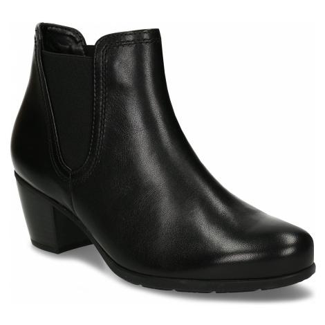 Černá dámská kožená kotníková obuv na podpatku Gabor