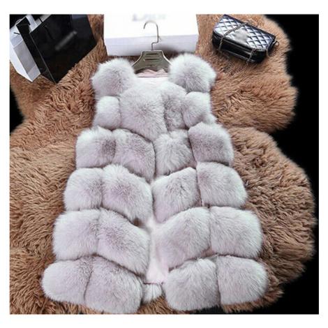 Dámský módní kabátek bez rukávů kožešinová vesta