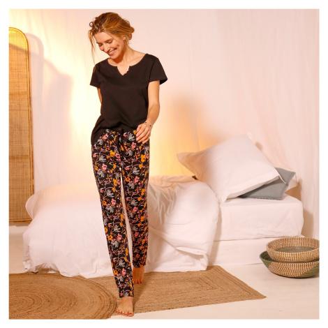 Blancheporte Pyžamové kalhoty s potiskem květin černá/korálová